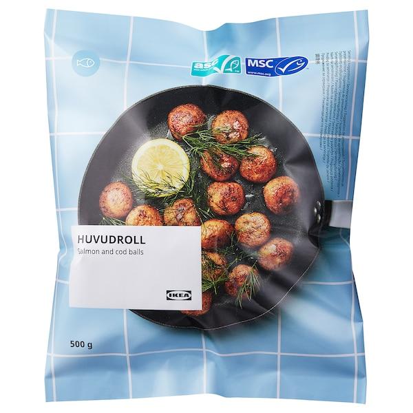 HUVUDROLL Albóndegas salmón bacallau, certificado ASC/certificado MSC conxelado, 500 g