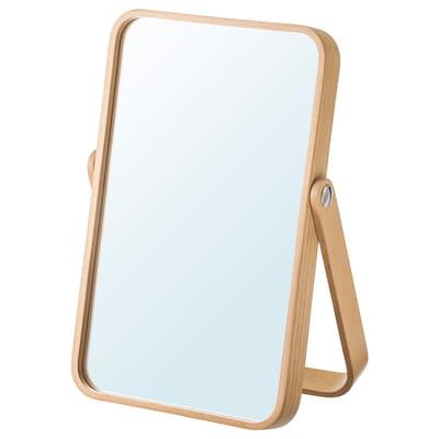 IKORNNES Espello de mesa, freixo, 27x40 cm