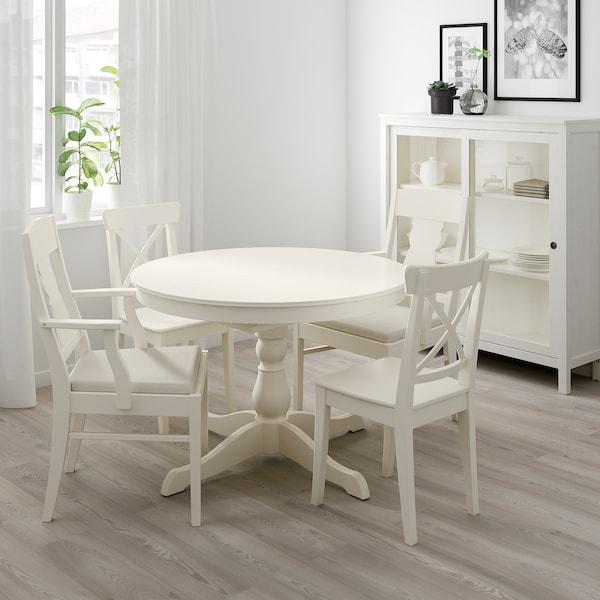 INGATORP / INGOLF Mesa con 4 cadeiras, branco/Nordvalla beixe, 110/155 cm