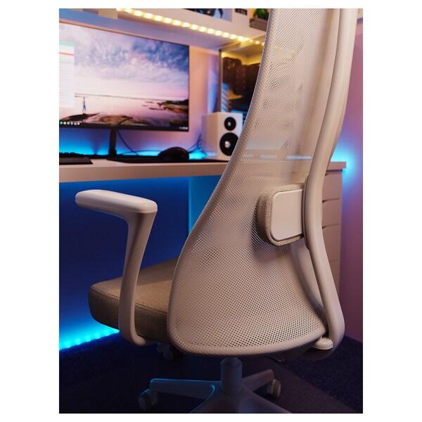 JÄRVFJÄLLET Cadeira de traballo con repousabraz, Gunnared beixe/branco