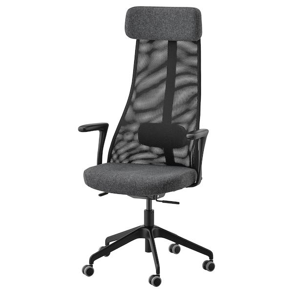 JÄRVFJÄLLET Cadeira de traballo con repousabraz, Gunnared gris escuro/negro