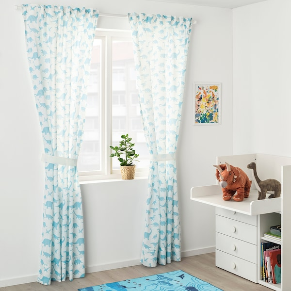JÄTTELIK Cortinas &abrazadeiras, 1par, dinosauro branco/azul, 120x300 cm