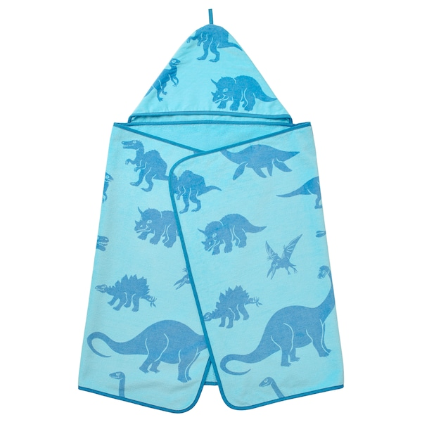 JÄTTELIK Toalla con carapucha, dinosauro/azul, 140x70 cm