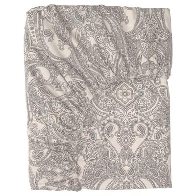 JÄTTEVALLMO Saba baixeira axustable, beixe/gris escuro, 140x200 cm