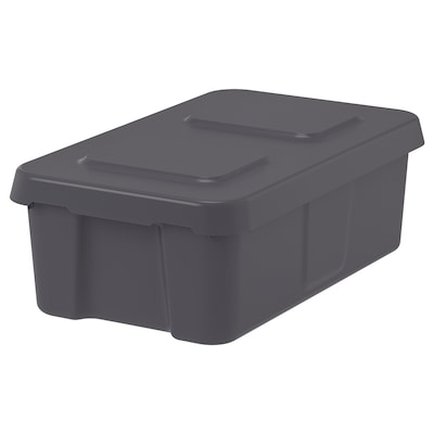 KLÄMTARE Caixa con tapa int/ext, gris escuro, 27x45x15 cm