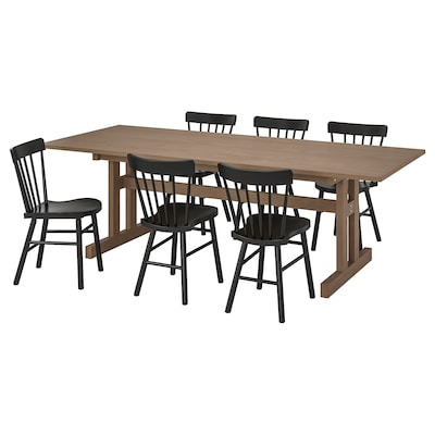 KLIMPFJÄLL / NORRARYD Mesa e 6 cads, marrón agrisado/negro, 240x95 cm