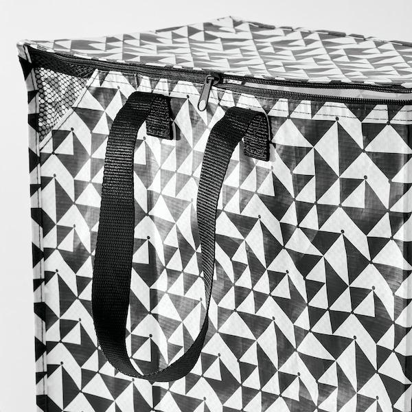 KNALLA Cesta, negro/branco, 40x25x47 cm/47 l