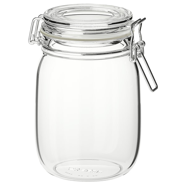 KORKEN Bote con tapa, vidro incoloro, 1 l
