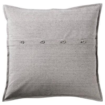 KRISTIANNE Funda de coxín, branco/gris escuro raias, 50x50 cm