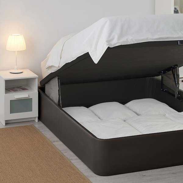 KVINLOG Canapé tapizado, Bomstad marrón escuro, 135x190 cm