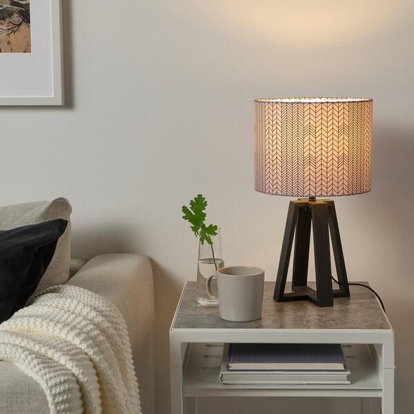 LAKAFORS Lámpada de mesa, marrón escuro/madeira/rosa escuro negro, 40 cm