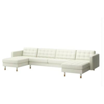 LANDSKRONA Sofá 5 prazas, con chaiselongues/Grann/Bomstad branco/madeira