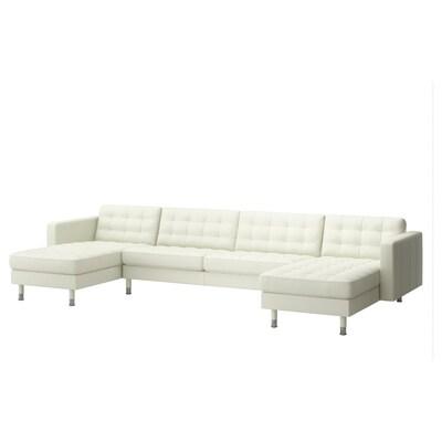 LANDSKRONA Sofá 5 prazas, con chaiselongues/Grann/Bomstad branco/metal