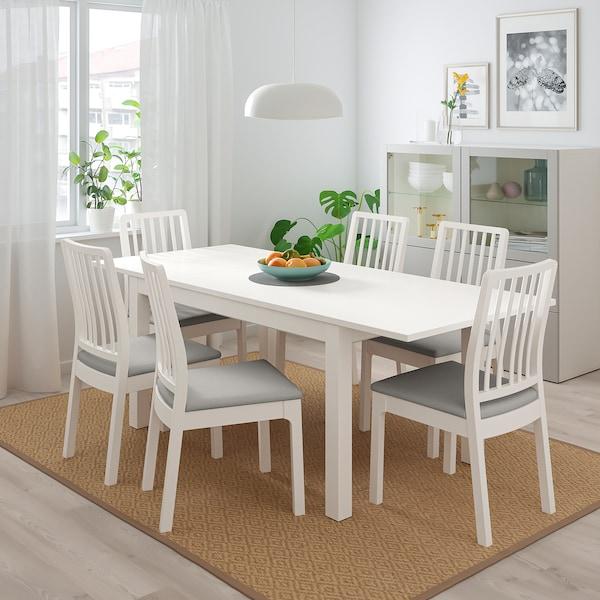 LANEBERG / EKEDALEN Mesa con 4 cadeiras, branco/branco gris claro, 130/190x80 cm