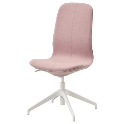 LÅNGFJÄLL Cadeira sala de xuntas, Gunnared marrón rosa claro/branco