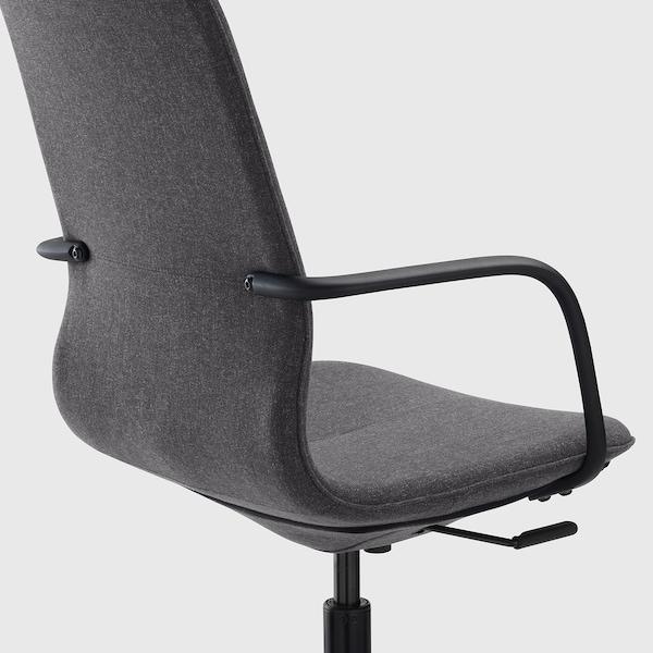 LÅNGFJÄLL Cadeira de traballo con repousabraz, Gunnared gris escuro/negro