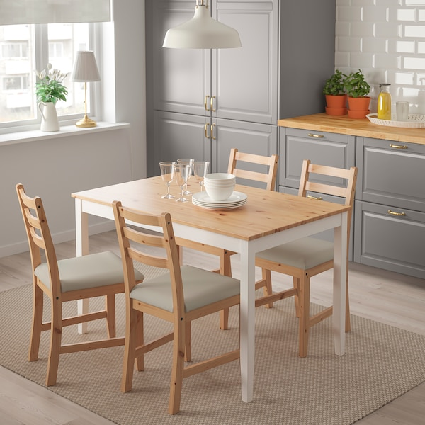LERHAMN Mesa con 4 cadeiras, tintura envellecida clara tintura branca/Vittaryd beixe, 118x74 cm