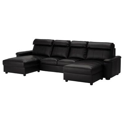 LIDHULT Sofá 4 prazas, con chaiselongues/Grann/Bomstad negro