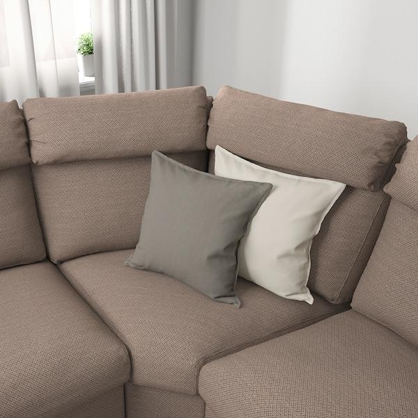 LIDHULT Sofá 5 prazas esquina, +extremo aberto/Lejde beixe/marrón