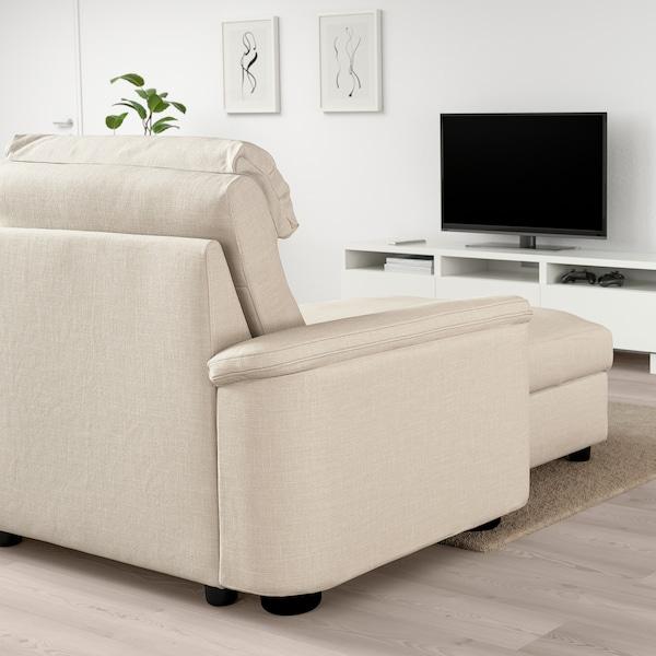 LIDHULT Sofá cama 3 prazas, +chaiselongue/Gassebol beixe claro