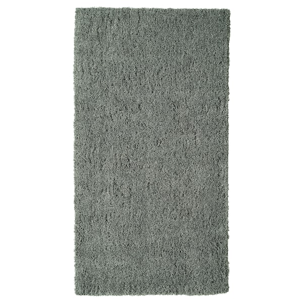LINDKNUD Alfombra, pelo longo, gris escuro, 80x150 cm