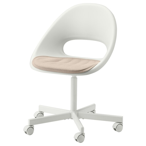 LOBERGET / BLYSKÄR Cadeira xiratoria con coxín, branco/beixe