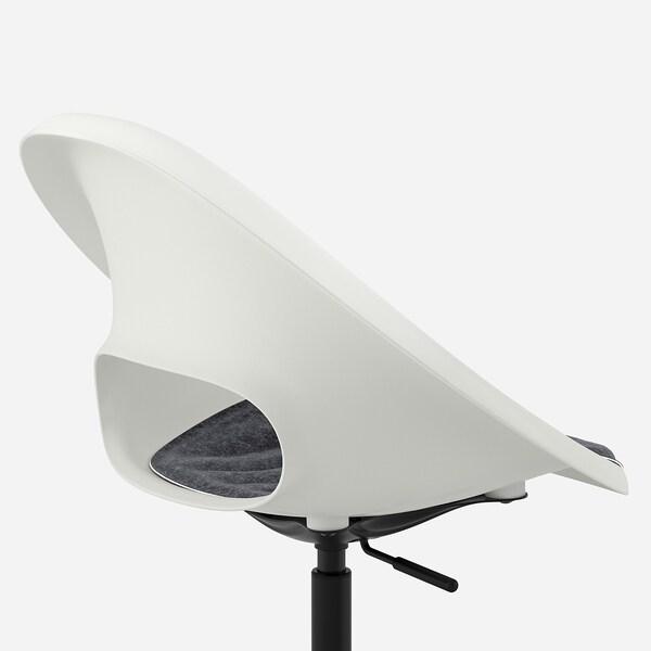 LOBERGET / MALSKÄR Cadeira xiratoria con coxín, branco negro/gris escuro