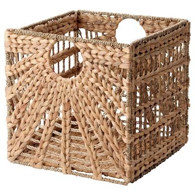 LUSTIGKURRE Cesta, natural xacinto de auga/xunco mariño, 32x33x32 cm