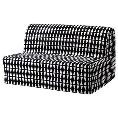 LYCKSELE LÖVÅS Sofá cama 2 prazas, Ebbarp negro/branco