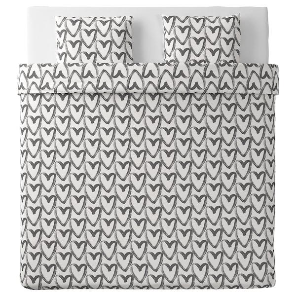 LYKTFIBBLA, branco/gris, 240x220/50x60 cm