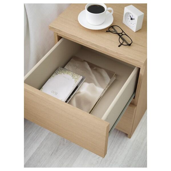 MALM Cómoda de 2 caixóns, chapa carballo tintura branca, 40x55 cm