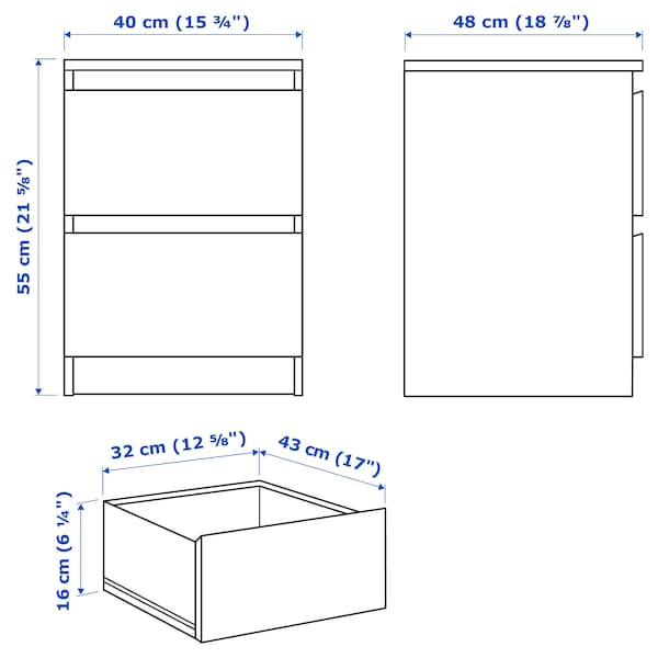 MALM Cómoda de 2 caixóns, chapa carballo, 40x55 cm