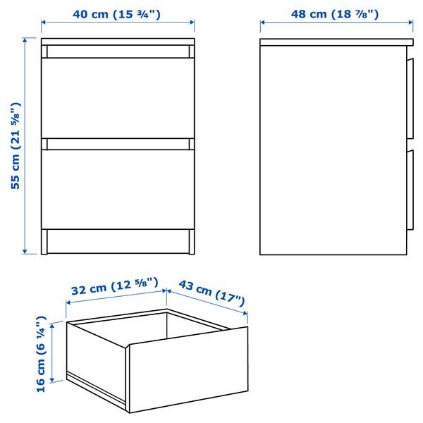 MALM Cómoda de 2 caixóns