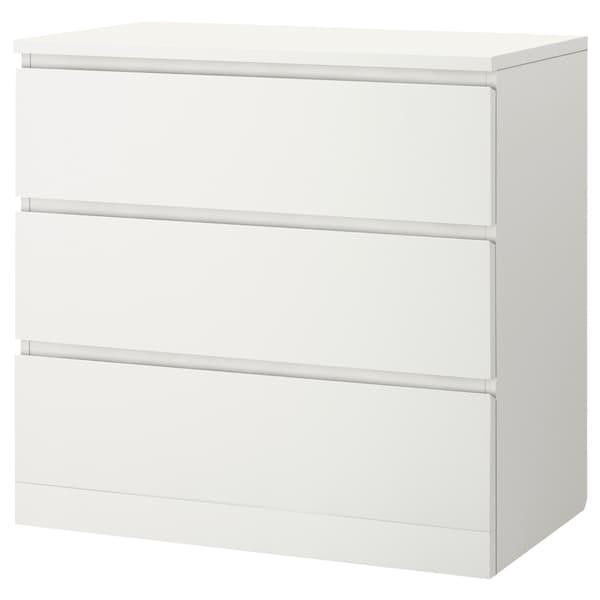 MALM Cómoda de 3 caixóns, 80x78 cm