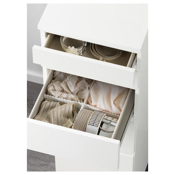 MALM Cómoda de 6 caixóns, branco/espello, 40x123 cm