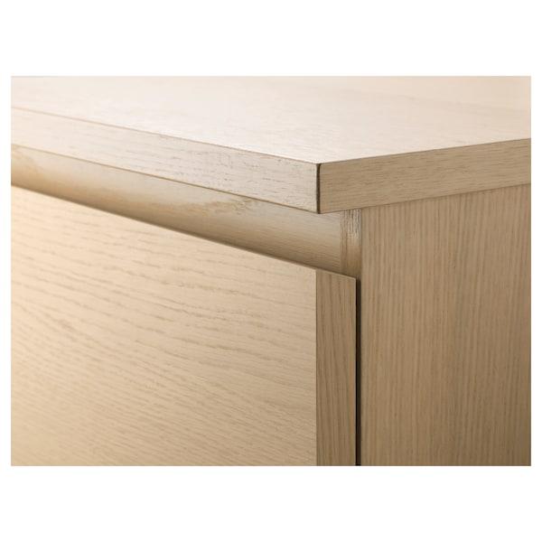 MALM Cómoda de 6 caixóns, chapa carballo tintura branca/espello, 40x123 cm