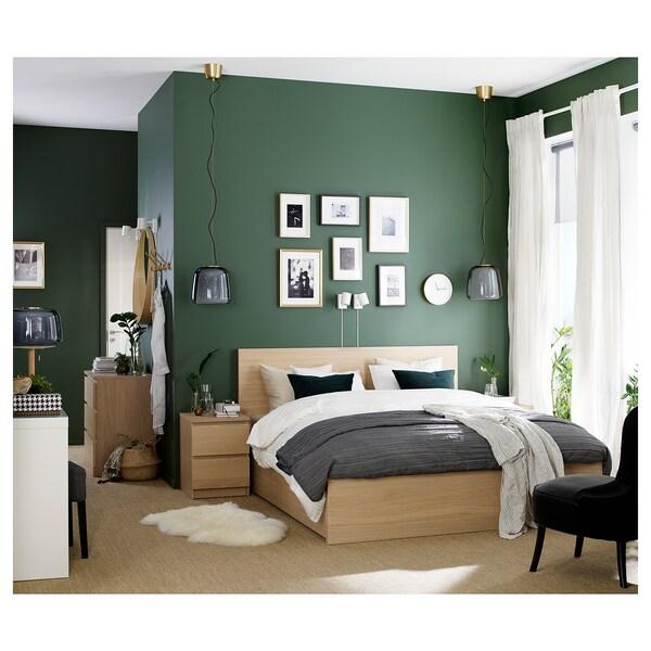 MALM Estrutura de cama con 4 caixóns, chapa carballo tintura branca/Lönset, 160x200 cm