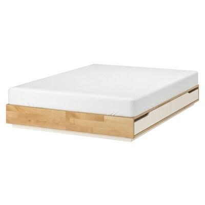 MANDAL Estrutura de cama con almacenaxe, bidueiro/branco, 160x202 cm