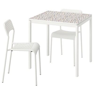 MELLTORP / ADDE Mesa e dúas cadeiras, motivo mosaico branco/branco, 75x75 cm