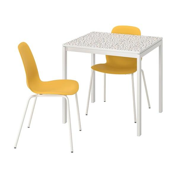 MELLTORP / LEIFARNE Mesa e dúas cadeiras, motivo mosaico branco/Broringe branco, 75x75 cm