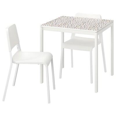 MELLTORP / TEODORES Mesa e dúas cadeiras, motivo mosaico branco/branco, 75x75 cm