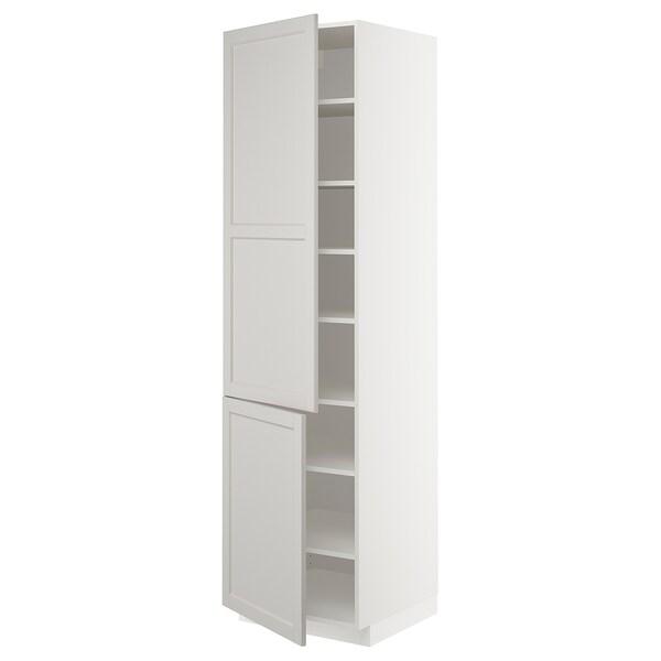 METOD Aa+ bld/2 pt, branco/Lerhyttan gris claro, 60x60x220 cm