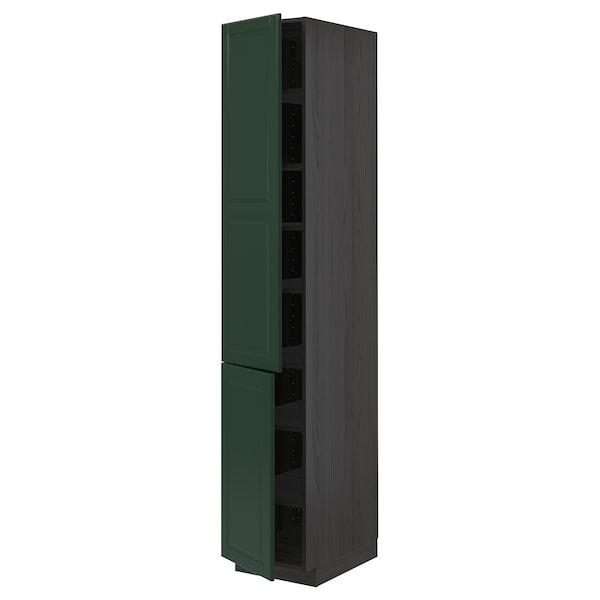 METOD Aa+ bld/2 pt, negro/Bodbyn verde escuro, 40x60x220 cm