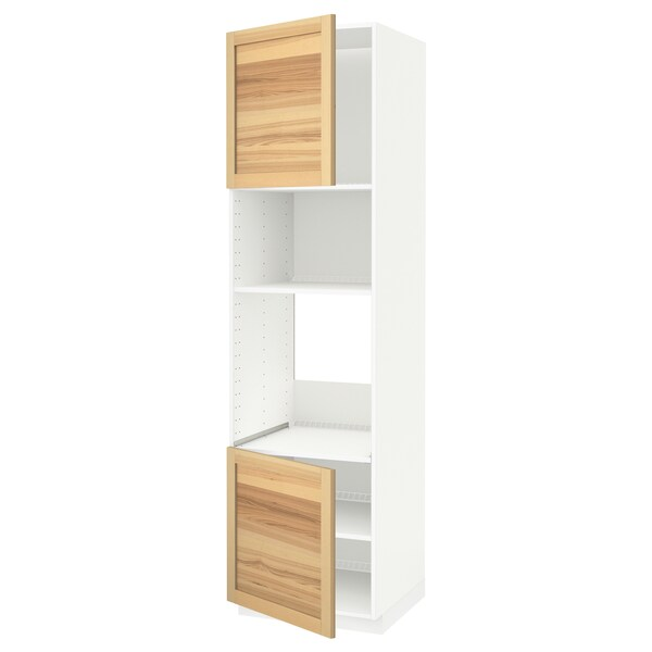 METOD Aahorno/ micro+2 pt/ bld, branco/Torhamn freixo, 60x60x220 cm