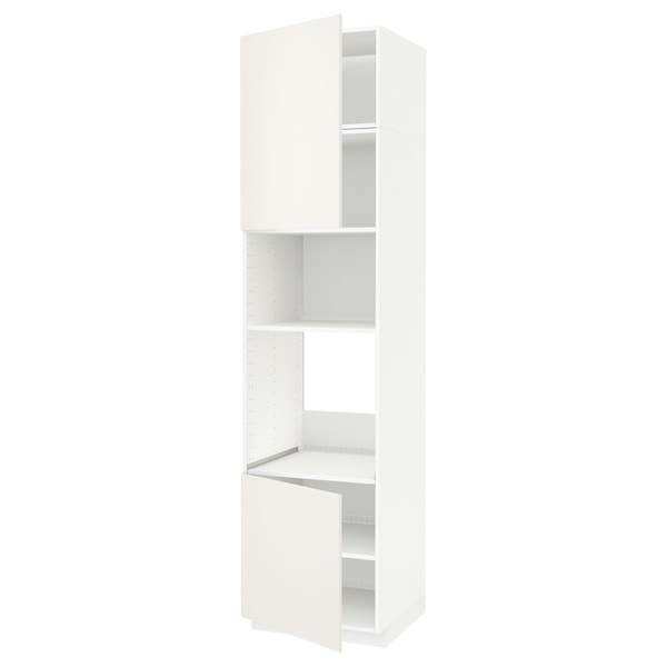 METOD Aahorno/ micro+2 pt/ bld, branco/Veddinge branco, 60x60x240 cm