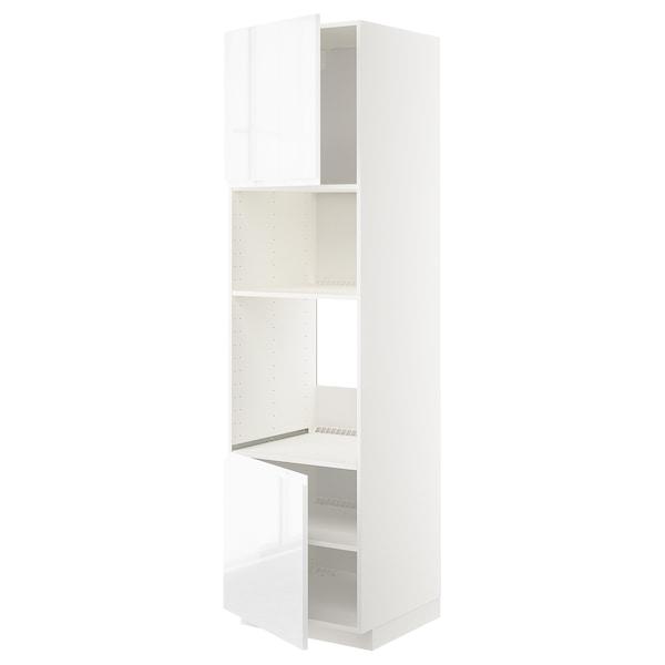 METOD Aahorno/ micro+2 pt/ bld, branco/Voxtorp alto brillo/branco, 60x60x220 cm