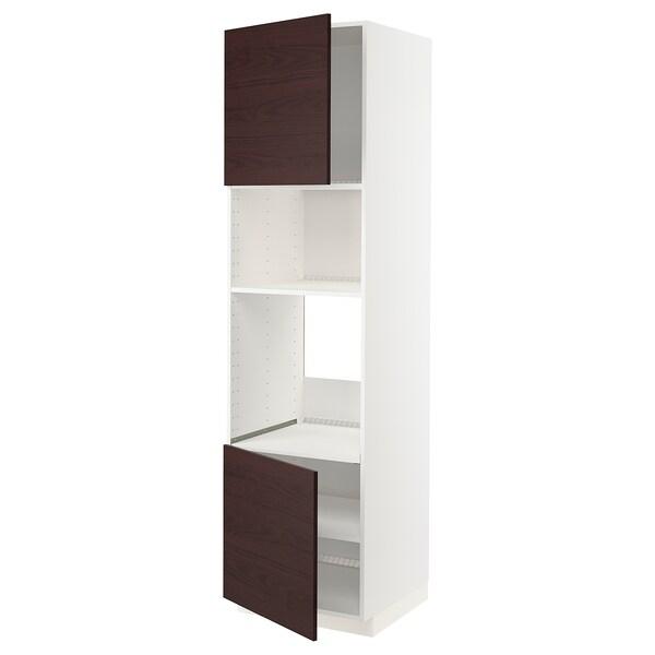 METOD Armario alto forno micro 2 portas, branco Askersund/marrón escuro laminado efecto freixo, 60x60x220 cm