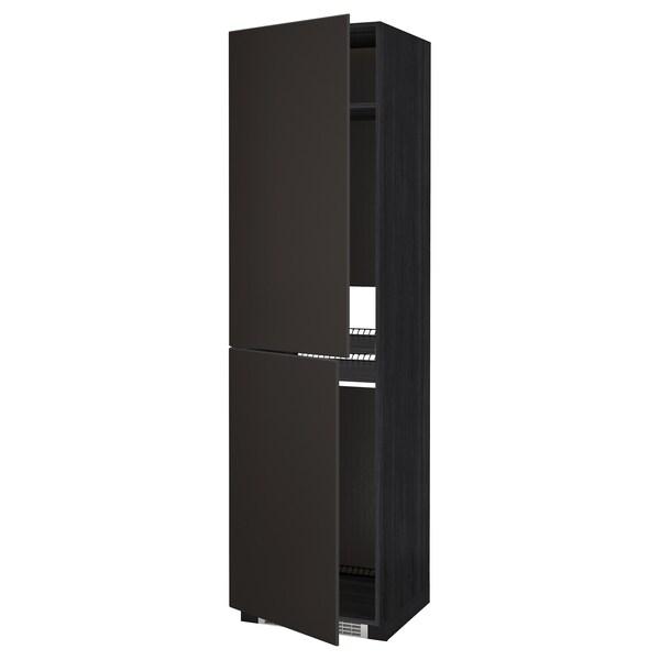 METOD Armario alto frigorífico conxelador, negro/Kungsbacka antracita, 60x60x220 cm