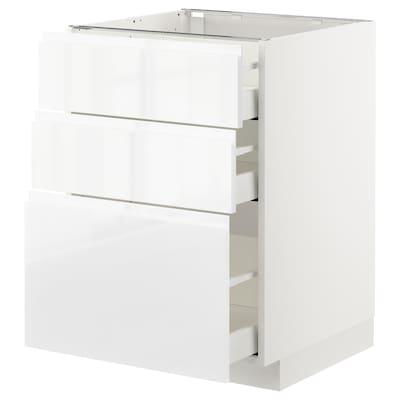METOD Armario baixo cociña con 3 caixóns, branco/Voxtorp alto brillo/branco, 60x60 cm