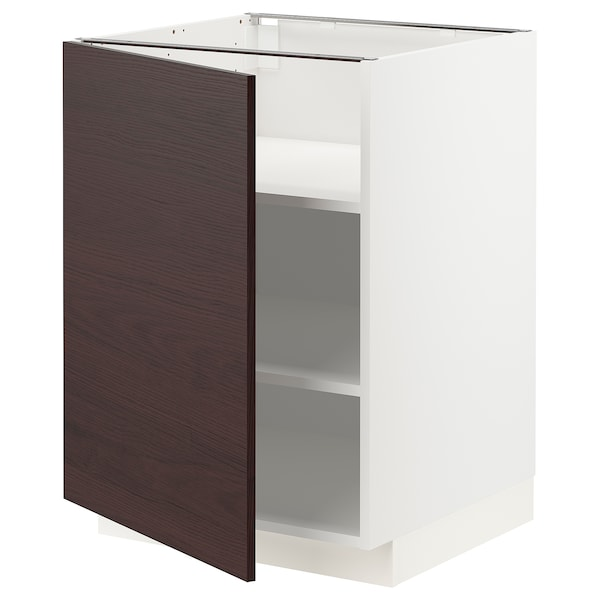 METOD Armario baixo cociña con andeis, branco Askersund/marrón escuro laminado efecto freixo, 60x60 cm